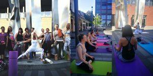 Yogatrainerin Jane Uhlig mit zahlreichen Yogianern